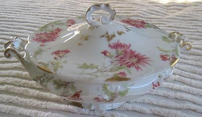 "Ca. 1890's A. Lanternier & Co. Limoges Chrysanthemum 9""  Covered Serving Bowl"
