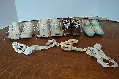 4 Pair of Antique Vintage Baby shoes Leather wool silk open toes Lovely VGC