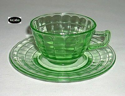 Block Optic Green Cup and Saucer Hocking