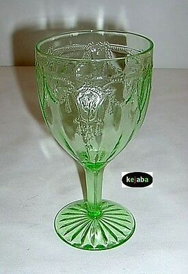 Cameo Ballerina Green Goblet 6 in. Water Hocking