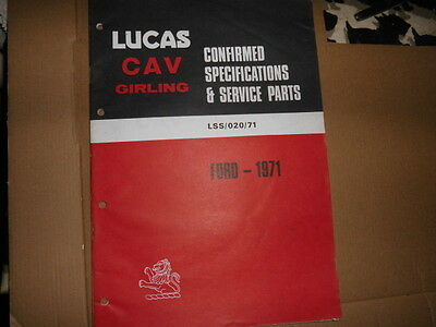 Ford Cars Lucas Spare Parts Catalogue 1971