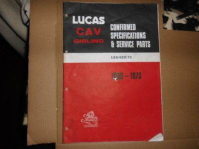 Ford Cars Lucas Spare Parts Catalogue 1973
