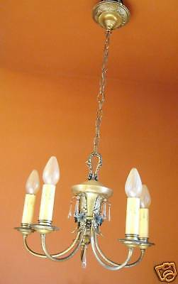 Vintage Lighting pair 1920s Colonial silver chandeliers   Sweet Glass Drops