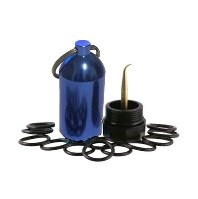 2 Mini Aluminum Scuba Diving Tanks with 12 O Rings AND Brass Pick Dive Key Chain