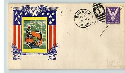 BAD AXE, Michigan cancel on WEIGAND/ World War II Patriotic with DISNEY labels,