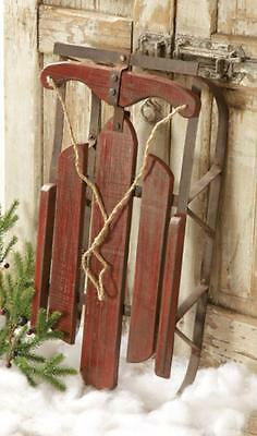 Primitive new large distressed burgundy wood decor sled w/metal runners/ nice