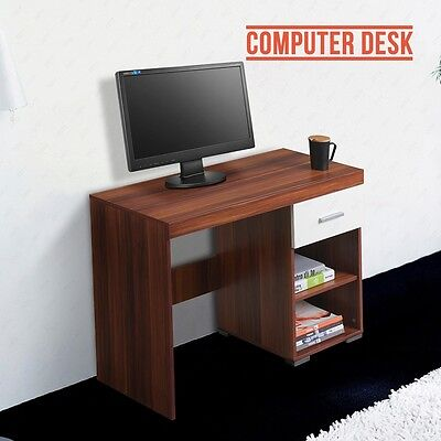 White&Walnut Compact Computer Desk W/ 2 Shelves 1 Drawer Home Office Workstation