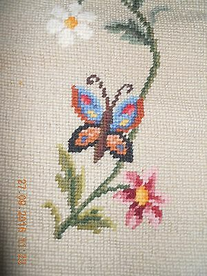 Pretty vintage long hand-stitched completed wool tapestry butterflies & flower