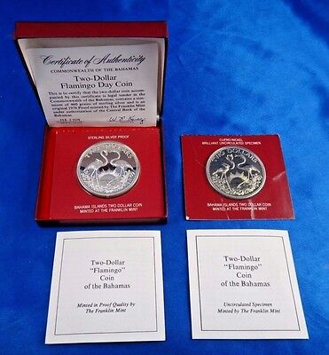 1976 Bahamas Flamingo $2 Sterling Silver Proof $2 Unc Coin Lot of 2 Box COA