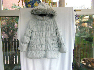 George Girls Silver Grey Padded Quilted Hooded Coat Age 5-6 Years