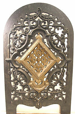 ANTIQUE ORNATE VICTORIAN Jas JACKSON NY CAST IRON ARCHED FIREPLACE COVER INSERT