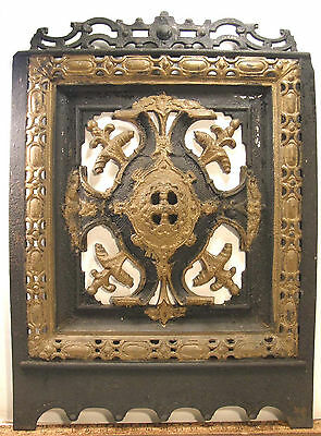 Ornate Antique Victorian Fireplace Insert Cover Pierced Renaissance Revival