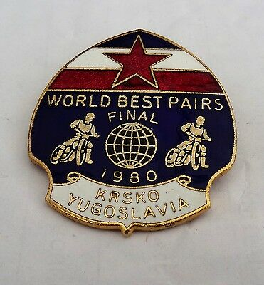 1980 speedway badge, World pairs final krsko Yugoslavia.