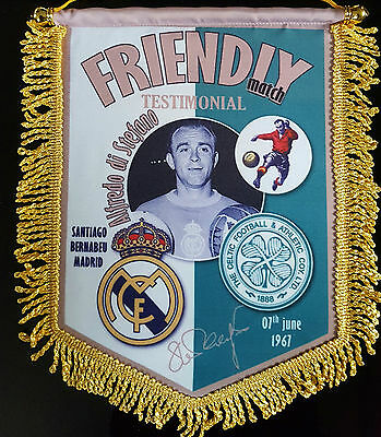 alfredo di stefano testimonial real madrid v celtic 14x12in colour pennant