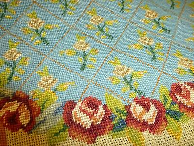 Antique Vintage NEEDLEPOINT CHAIR CUSHION Canvas Partially Completed Tapestry