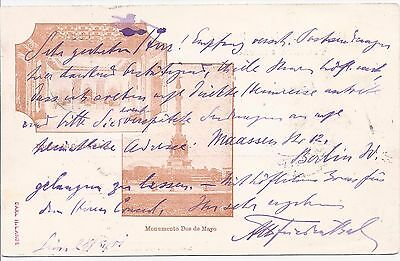 Peru 1900 4c picture stationery card PO interior and 2 May Monument used