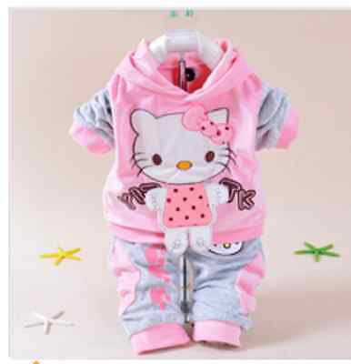 New Hello Kitty Baby Girls Suits Kids 2pcs Sets jackets Pants Children Clothing