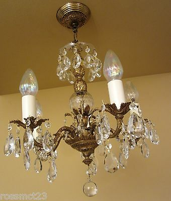 Vintage Lighting matched pair circa 1960 crystal chandeliers