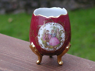 Vintage Limoges Colourful 3 Legged Vase With Courting Couple Scene