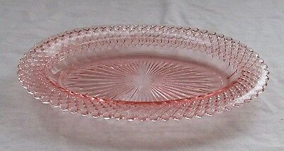 """Depression Pink Miss America  10-1/2"""" Oval Shallow Vegetable Bowl"""