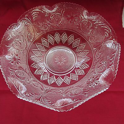 """Anchor Hocking Glass Crystal Clear Large 11"""" Sandwich Serving Bowl"""
