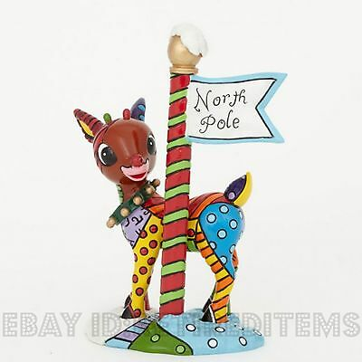 Rudolph The Red Nosed Reindeer North Pole Figurine ROMERO BRITTO 4039611 ENESCO
