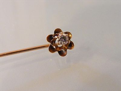 Vintage 14k Solid Yellow Gold Diamond Raised Double Scalloped Flower Stick Pin