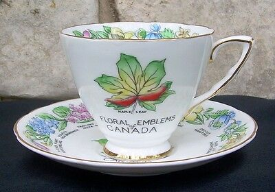 Royal Stafford Cup Saucer Floral Emblems of Canada Flowers Bone China Vintage