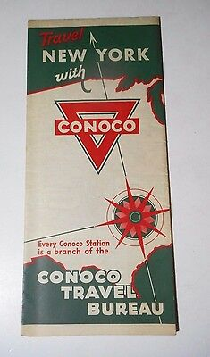 Original Vintage 1930 Conoco New York State Travel Map