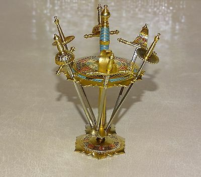 VIntage Sword Shaped Cocktail Sticks / Hors D'Oeuvres in a Carousel Stand