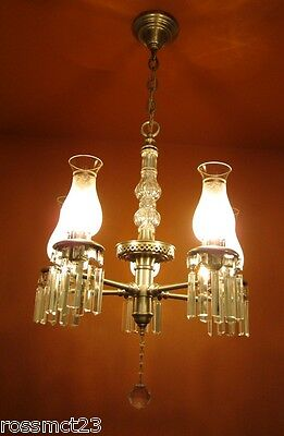 Vintage Lighting antique 1940s pewter crystal chandelier   Rare Very Beautiful