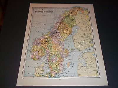1890 SWEDEN AND  NORWAY  Antique color state map original authentic