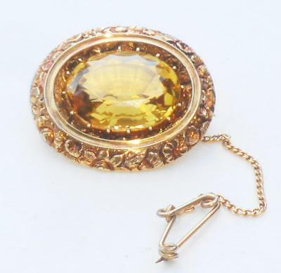 STUNNING BEAUTIFUL FINE ANTIQUE LARGE HEAVY 15ct GOLD & AAA GRADE CITRINE BROOCH