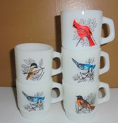 5 Anchor Hocking Fire King Glass Stacking Bird Coffee Mugs Cups Blue Jays