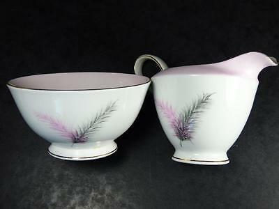ROYAL STANDARD PINK & GREY FEATHERS Duo, Milk JUG + SUGAR BOWL