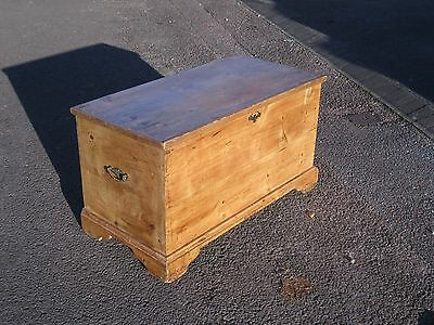 19thC VICTORIAN PINE CHEST / BLANKET BOX WITH CANDLE BOX,RUSTIC / SHABBY CHIC