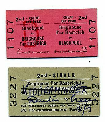 Railway tickets BTC/BRB Brighouse for Rastrick to various.