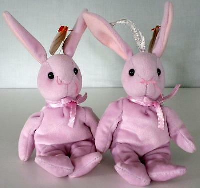 """Two Ty Basket Beanies """"Floppity"""" Easter Rabbits Ornaments From 2001 With Tags"""
