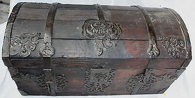 Hump-Back / Dome Top Trunk Dated 1783, Wood w/ Metal Iron Straps & Corners