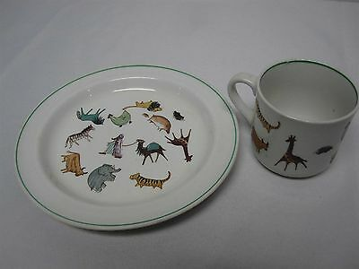 "Vintage Arabia Finland ""parade"" Childs Plate + Mug Set With Zoo Animals"