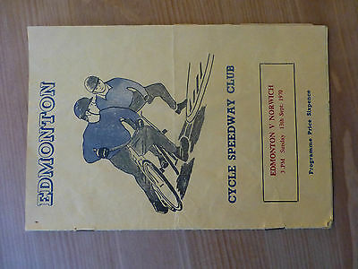 Edmonton V Norwich 13/9/1970 Cycle Speedway Programme