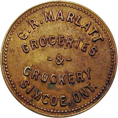 Simcoe Ontario Canada Good For Token C R Marlatt Groceries & Crockery 50 Cents