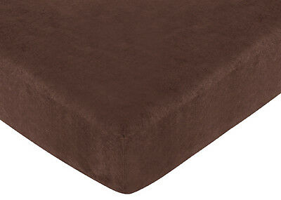 Sweet Jojo Designs Jungle Time Crib or Toddler Fitted Sheet - Brown Microsuede