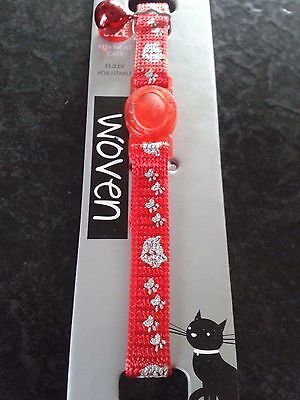 billy&macy red cat collar with pawprints with red. bird warning bell. nwt NEW