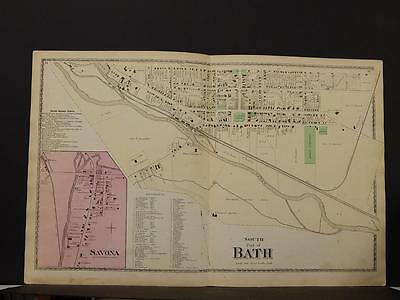 New York, Steuben County Map, 1873, City of Bath, Two Double Pages, O6#36