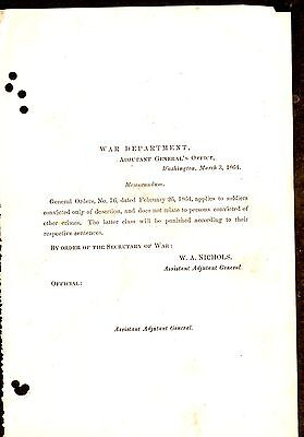 1864 War Department Memo Re: Soldiers Convicted Of Desertion
