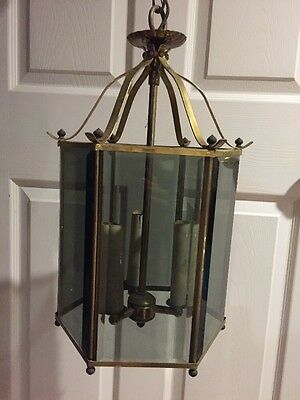 Vintage Hanging Light Lamp Chandelier Candles Brass And Smoked Glass