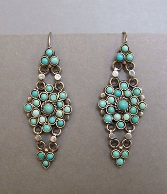 Vintage Zuni sterling silver and natural turquoise earrings.