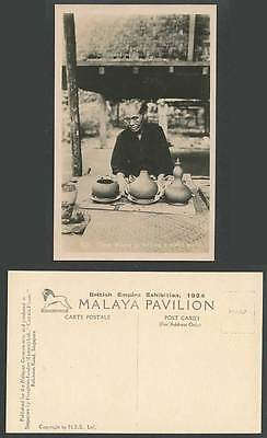 Malaya 3 Stages in Making a Water Bottle Native Malay Woman 1924 Old RP Postcard