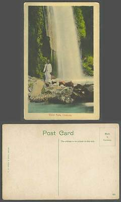 India Old Colour Postcard WATER FALLS Waterfalls Chakrata Man on Rocks, Umbrella